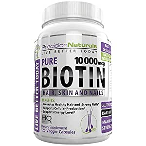 Biotin 10000mcg for Hair Growth Skin and Nails Formula Maximum Strength Liquid Capsules Nature's Hair Growth Supplement - Longer, Healthier and Stronger Hair and Nails 120 Veggie Capsules/Pills