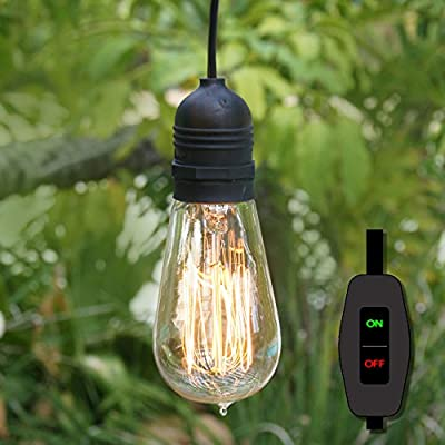 Fantado Weatherproof Outdoor Pendant Porch Light Bulb Lamp Cord Kit with Hanging Rings E26