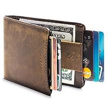 HUSKK Leather Wallet for Men - Credit Card Sleeve Holder (Dark Brown[CSBW2-DBCH-RFID])
