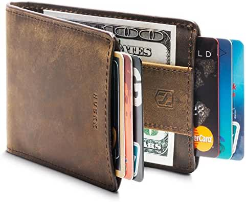 Huskk Men's Ultra Slim Bifold Leather Wallet
