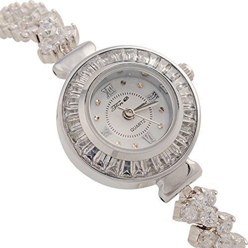 Feng Cai Nueva Mujer cubierto brillantes joyas impermeable Japón Movimiento Reloj de pulsera Relojes, Silver: Amazon.es: Relojes