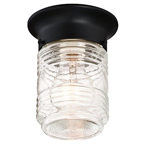 - Design House 587220 Jelly Jar 1-Light Indoor/Outdoor Flush Mount Ceiling Light, Black