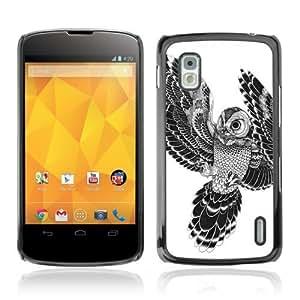 Designer Depo Hard Protection Case for LG Nexus 4 E960 / Beautiful Japanese Tattoo Owl