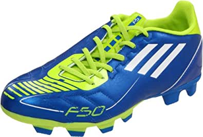 adidas Men's F5 TRX FG Soccer Cleat,Anodized Blue/White/Slime,12.5 D US