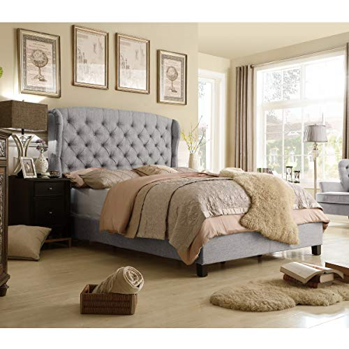 Rosevera Ralls Upholstered Panel Bed (Queen, Grey)