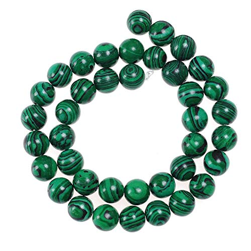 8mm Green Malachite Beads Stone Loose Beads Gemstone Round Beads Energy Healing Beads for DIY Jewelry Making Approxi 15.5 inch 45pcs 1 Strand per Bag