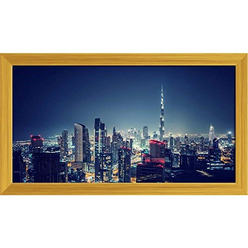 ArtzFolio Beautiful Dubai Cityscape in United Arab Emirates Canvas Painting Golden Frame 10.1 x 6inch
