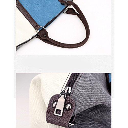 New Ladies Contrast Color Handbags Big Simple Bag Handbag Bag Bag Canvas Stitching XIAOLONGY graybluewhite1060canvasbag Shoulder Messenger 1TdCCw