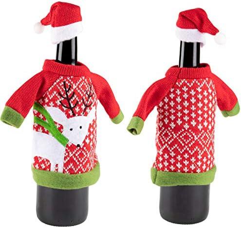 Cute Dresses for Wine Bottles Set of 3 Xmas Wine Bottle Covers Red Juvale Santa Claus-Themed Christmas Bottle Decor