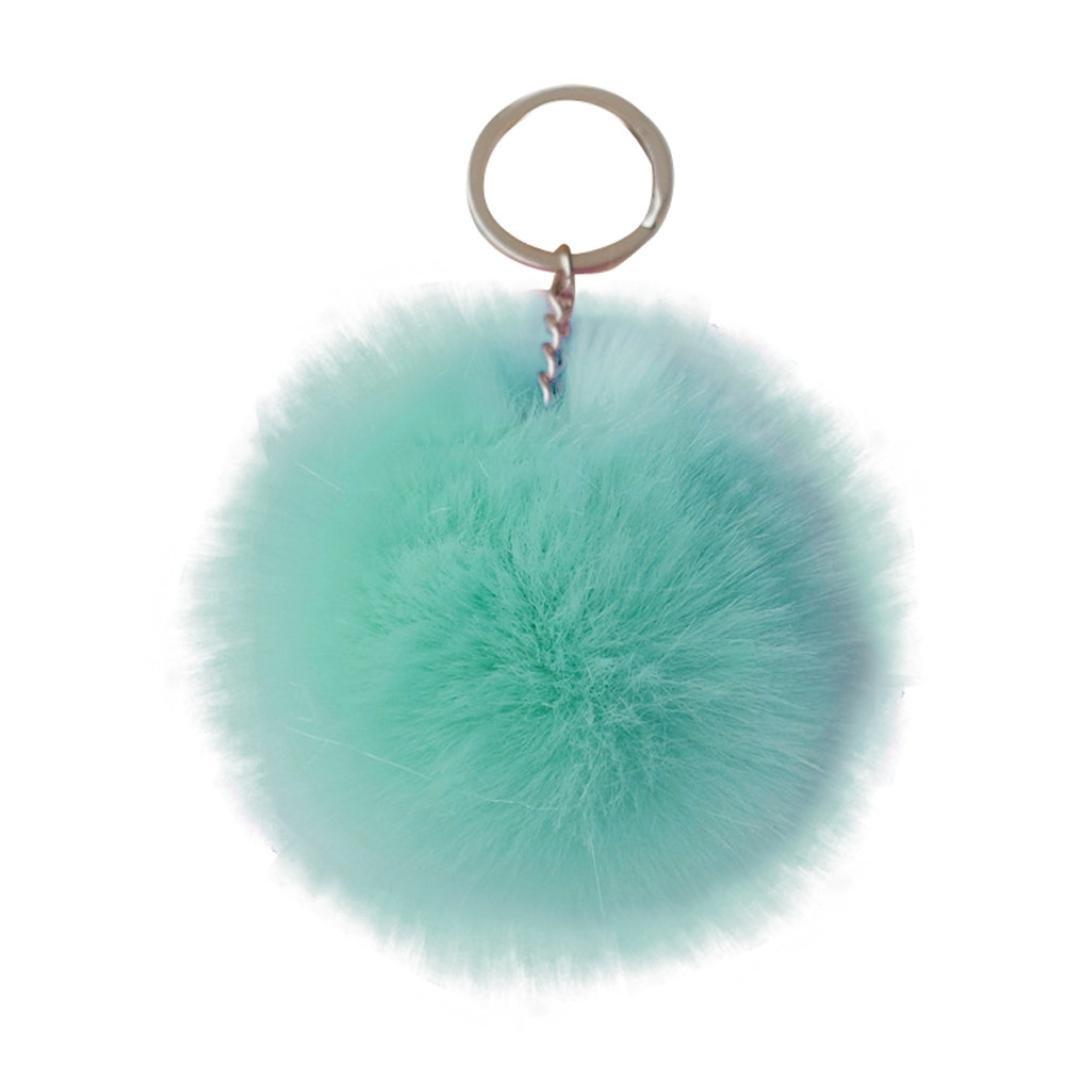 Voberry Keychain Rabbit Fur Ball Pom Pom Keychain for Car Key Ring Handbag Tote Bag Pendant (Mint Green)