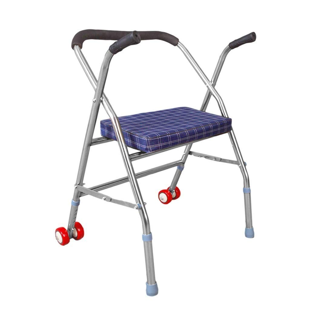 YFQ Universal Roller Walker Standard Walker Collapsible Walker Walk Frame Rehabilitation Training Frame Shopping Cart Frame Height Adjustable