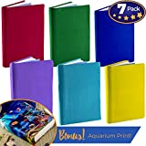 Jumbo, Stretchable Book Cover Solid Color 6 Pack Plus Aquarium Print. Fits Hardcover Textbooks 9 x 11 and Larger. Reusable, Adhesive-Free, Fabric Protectors are A Needed School Supply for Students