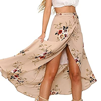 iYYVV Women Bohemia High Slit Floral High Waisted Beach Wrap Cover up Maxi Skirt