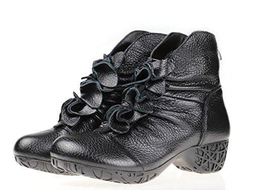 Bigwanbig Kvinnor Fashionabla Avslappnade Retro Spets Läder Rund Tå Varm Häl Boots (och Pälskantade) Svart