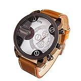 Creazy Fashion Luxury Mens Analog Sport Steel Case Quartz Leather Wrist Watch