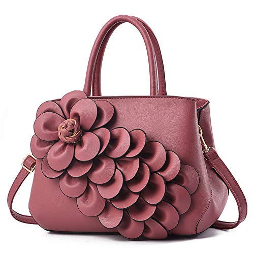 Mn&Sue Ladies Top Handle Satchel 3D Flower Women Elegant Handbags Pu Leather Crossbody Tote Purse (#2 Dark Pink)