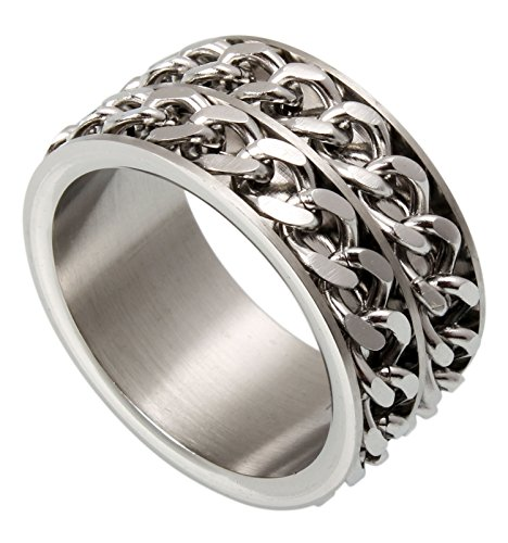 12mm Stainless Steel 2 Rows Rolling Chain Link Spinner Ring Sizes 7.75 to 13.9 (9) (Two Row Stainless Steel Ring)