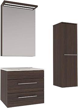 Amazon De Gariella 3 Teiliges Modernes Badezimmer Mobel Set Mit 60er Waschbecken Spiegelschrank Und