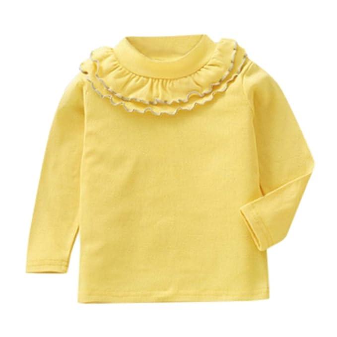 fa2a45aff Mitlfuny Primavera Verano de Ropa Blusas para Bebé Manga Larga Camisas  Encaje Camisetas Cuello Alto Tops Niñas Niños 1-5 Años  Amazon.es  Ropa y  accesorios