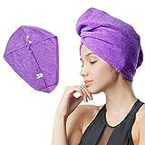 Dry Hair Cap Microfiber Towel Purple Turban Wrap Quick Dry Ultra...