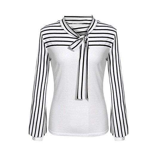 Price comparison product image Goddessvan Women Casual Tie-Bow Neck Striped Long Sleeve Splicing Shirt Blouse (2XL,  White)