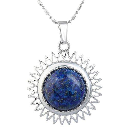 SUNYIK Lapis Lazuli Round Sun Amulet Pendant Necklaces for ()