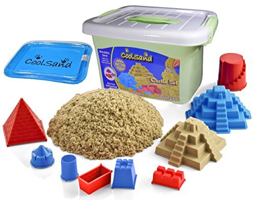 (CoolSand Deluxe Bucket - Castle Edition - Set Includes: 2 Pounds Moldable Indoor Play Sand, Shaping Molds, Inflatable Sandbox & Storage Bucket - Featuring Sensory Kinetic)