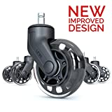 Rollerblade Office Chair Casters Wheels: Perfect Replacement for Desk Floor Chair Mat | Heavy Duty Safe Protection for All Floors Including Hardwood | Strong Nylon and Rubber Material | Gift Set