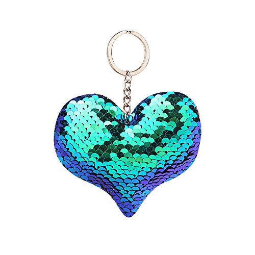 (❤️Ywoow❤️❤ , Fashion Sequins Heart Bag Pendant Colorful Sequins Heart-Shaped Keychain)