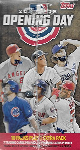 Large Product Image of 2018 Topps Opening Day Baseball Series Unopened Blaster Box with 11 Packs of 7 Cards Possible Autographs and Game Used Relics Cards