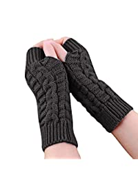 Tenworld Women Girls Knitted Arm Fingerless Winter Gloves Soft Warm Mitten
