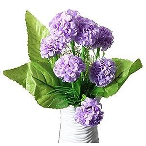 TOOGOO(R) 1 Bouquet 8 Heads Artificial Hydrangea Silk cloth Flowers Floral Home Decor Light purple 115