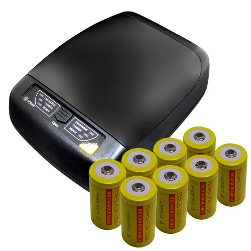 Hitech - Smart 4-Bank Charger For AA, AAA, C, D Size Batteries - Includes 8 Ni-Cd D Batteries