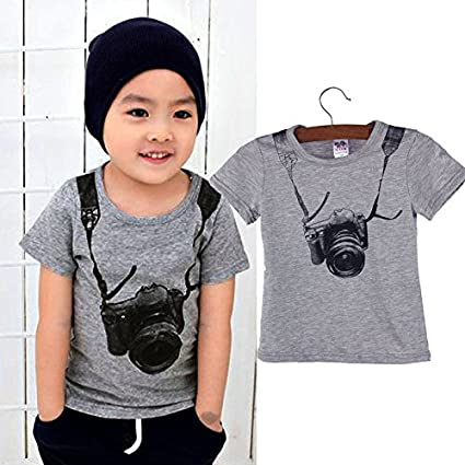 6086997064ff Vicbovo Clearance Sale Little Boy Toddler Kids Baby Stylish Short Sleeve  Tops Camera Print Tee Shirts