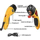 Mictuning Emergency Car Hammer w/ Seatbelt Cutter,Window Breaker,Escape Hammer,Emergency Strobe Light and Magnet - Yellow