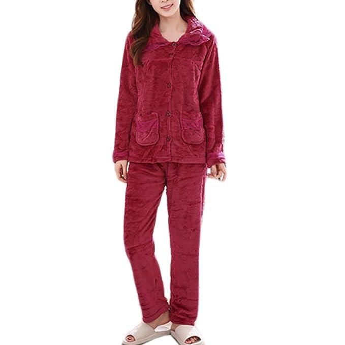 Pijama De Franela De Las Mujeres Set De Manga Larga De Invierno Cálido Suave Cómodo Pijama