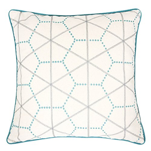 Homey Cozy Embroidery Cotton Throw Pillow Cover,Turquoise Series Geometric Line Decorative Square Couch Cushion Pillow Case 20 x 20 Inch, Cover Only