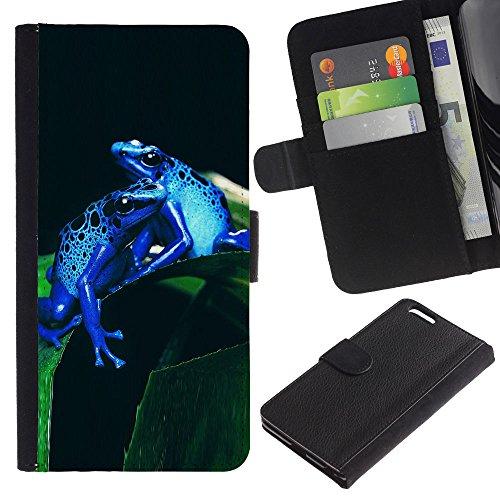 EuroCase - Apple Iphone 6 PLUS 5.5 - Cool Neon Blue Jungle Frogs - Cuir PU Coverture Shell Armure Coque Coq Cas Etui Housse Case Cover