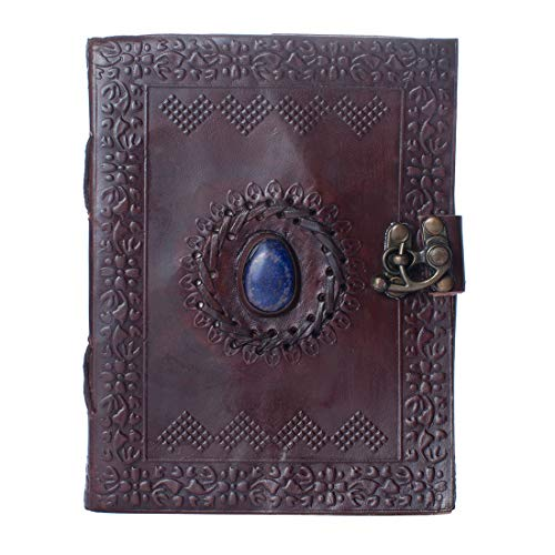 Dios Leather Journal, Dark Brown Vintage Single Stone Antique Handmade Daily Notepad for Men & Women, Best Gift, Travel Diary & Notebook (7 x 5 Inches)
