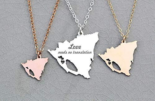 Nicaragua Necklace - IBD - Personalize with Name or Coordinates – Choose Chain Length – Pendant Size Options - Ships in 1 Business Day - 935 Sterling Silver 14K Rose Gold Filled Charm