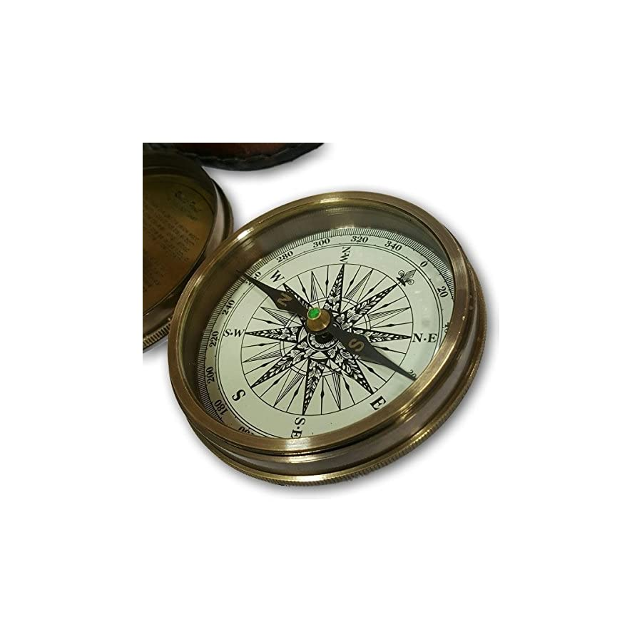 NAUTICALMART Collectible Antique Nautical Decor Astrolabe Brass Robert Frost Vintage Poem Engraved Navigational Compass