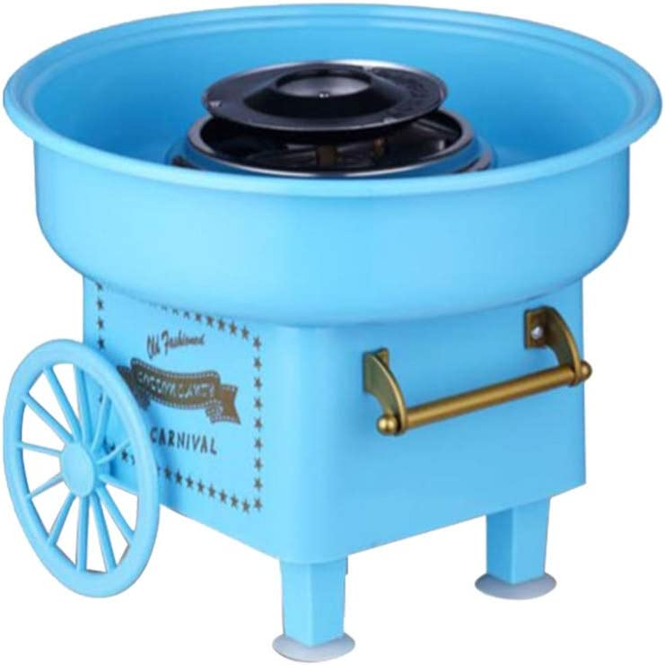 Cuoff Cotton Candy Floss Maker Home Use Mini Countertop Cotton Candy Maker for Kids Blue Children Trolley Creative Gift Chritsmas Candy Machine Kit