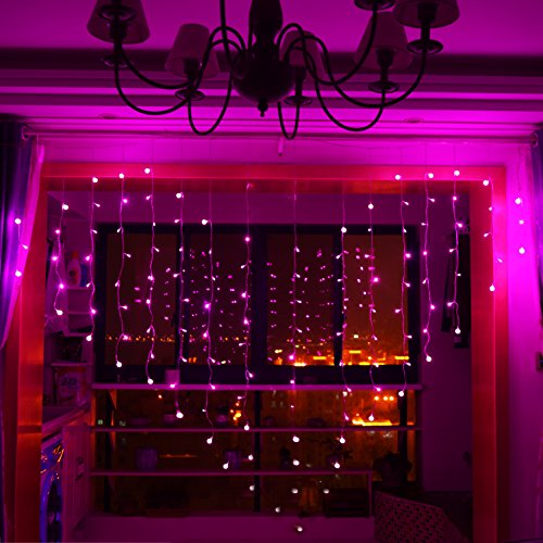 YiiY Heart Shaped String Light Curtain Lights - for Valentine's Day,Wedding Party,Home Garden, Bedroom,Outdoor Indoor Wall Decorations 120Led 32 White Ball Pink Color