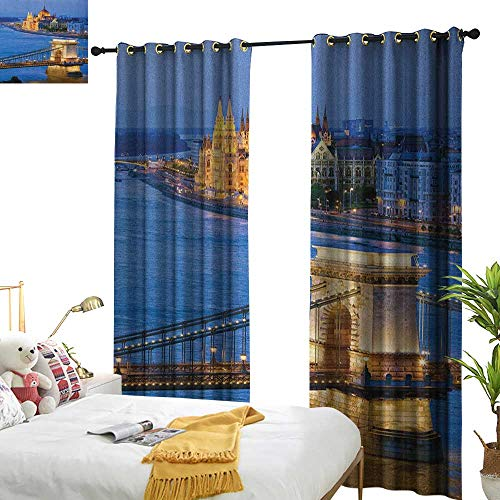 WinfreyDecor Blackout Curtains European River of Budapest at The Evening Illuminated Bridge Hungarian Culture Heritage Home Garden Bedroom Outdoor Indoor Wall Decorations W96 x L108 Multicolor from WinfreyDecor
