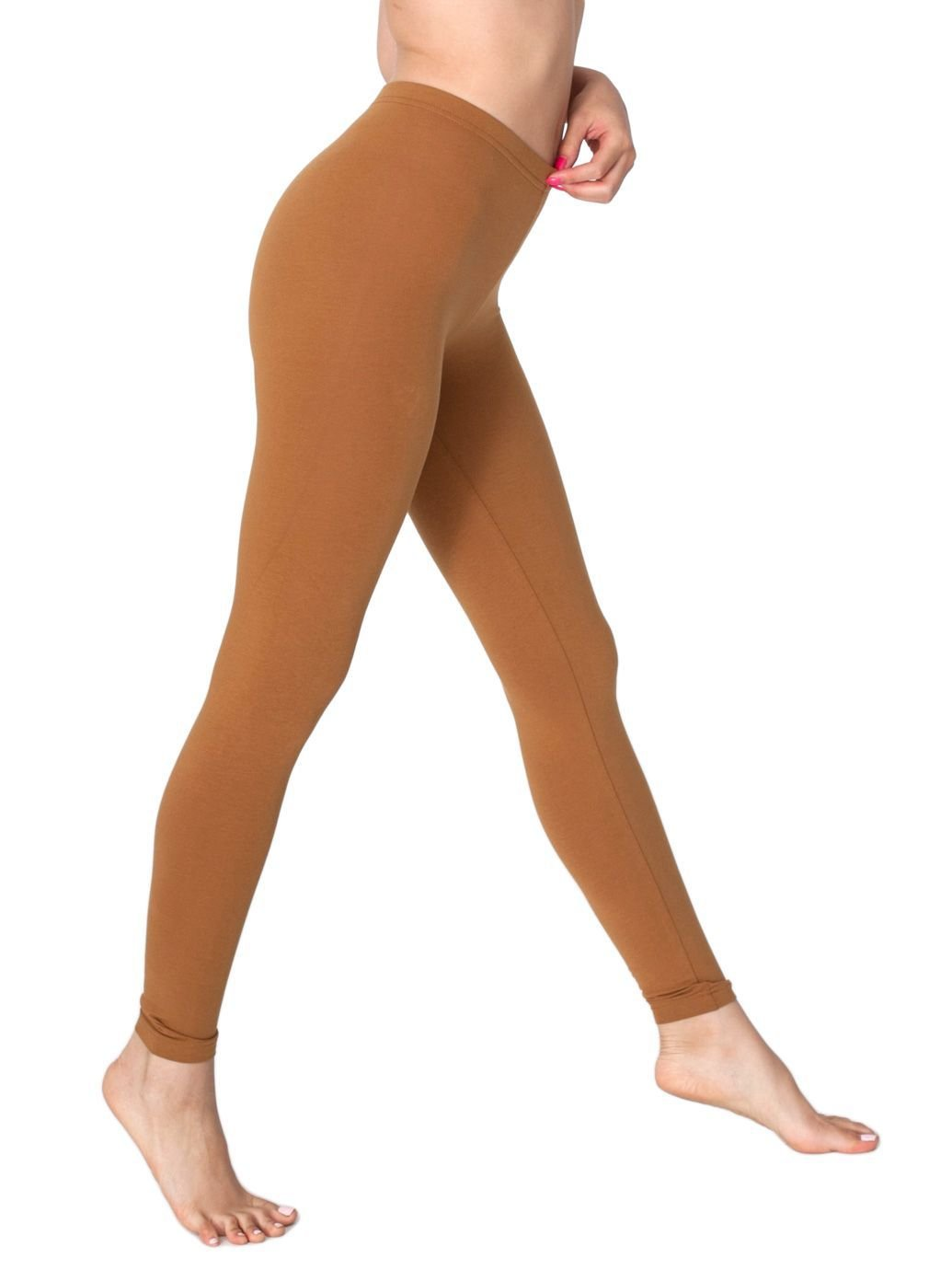 American Apparel Women's Cotton Spandex Jersey Legging Size S Camel
