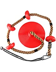 Yaesport 6.5ft Tree Climbing Rope and Kids Swing, Climbing Rope Tree Swing with Platforms and Disc Swing Seat Set Outdoor Playground Accessories for Kids Including Hanging Strap & Carabiner