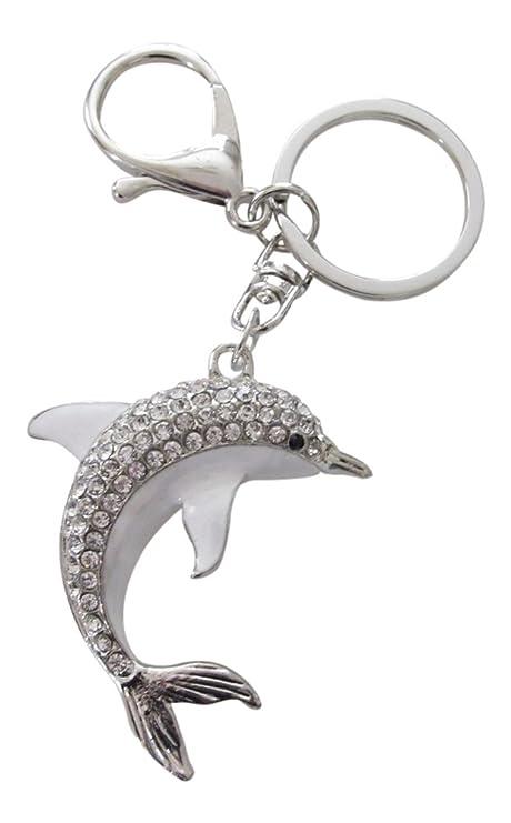 Bolsa de joyas, llavero, diseño de delfín con cristales ...
