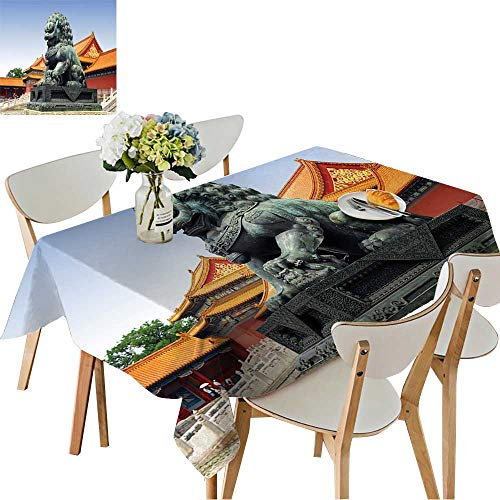 UHOO2018 Square/Rectangle Polyesters Tablecloth Forbidden City in Beijing,China Wedding Party,50 x102inch ()