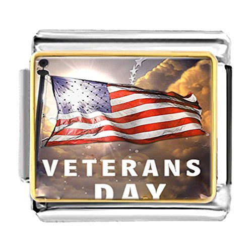 Pugster American Flag - GiftJewelryShop Gold Plated Veterans Day American flag Bracelet Link Photo Italian Charms