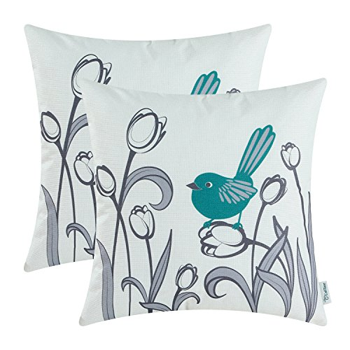 - CaliTime Pack of 2 Soft Canvas Throw Pillow Covers Cases for Girls Couch Sofa Hand Drawing Cute Bird with Gray Sweet Tulip Floral Print 18 X 18 Inches Teal